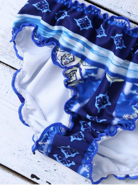 new Halter Frilled Porcelain Print Bikini - BLUE AND WHITE M Mobile