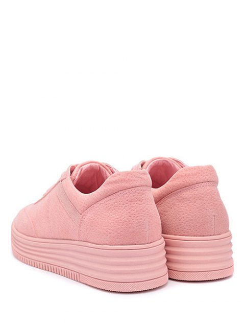 lady PU Leather Tie Up Round Toe Athletic Shoes - PINK 37 Mobile