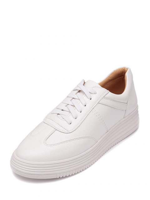 hot PU Leather Tie Up Round Toe Athletic Shoes - WHITE 38 Mobile