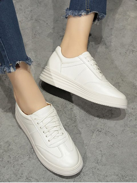 online PU Leather Tie Up Round Toe Athletic Shoes - WHITE 39 Mobile