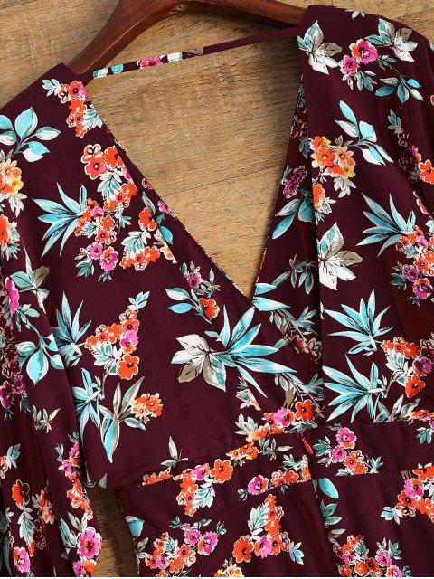 shops Wide Sleeve Floral Print Crossover Dress - BURGUNDY S Mobile
