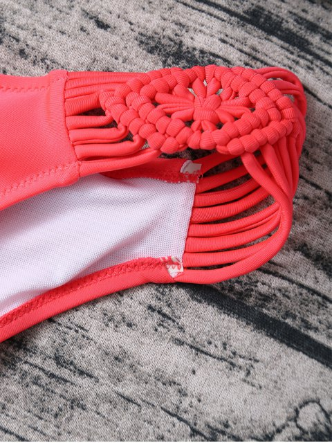 affordable Braided Lace-Up Bikini Set - ROSE RED S Mobile