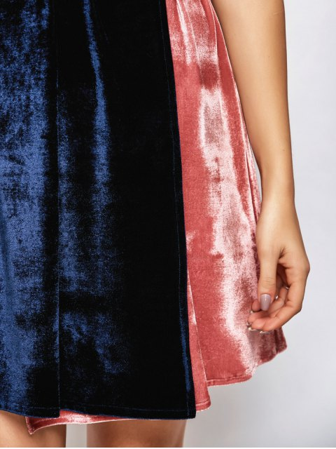 trendy Velvet Two Tone Wrap Dress - BLUE AND PINK ONE SIZE Mobile