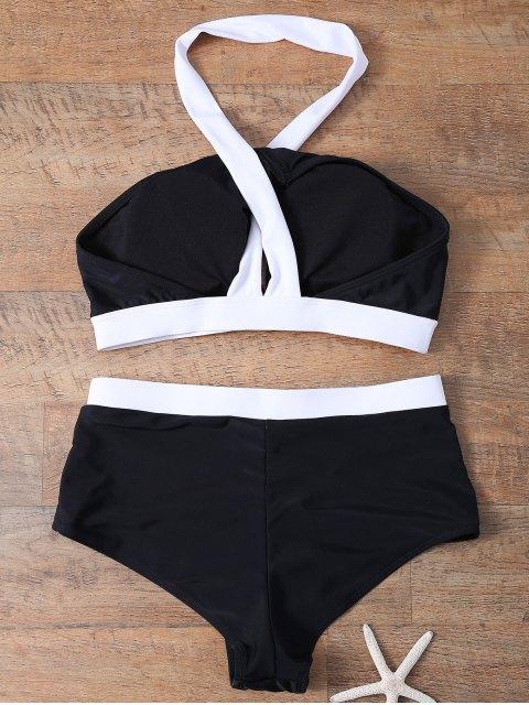 outfits High Waist Color Block Bikini Set - WHITE AND BLACK S Mobile