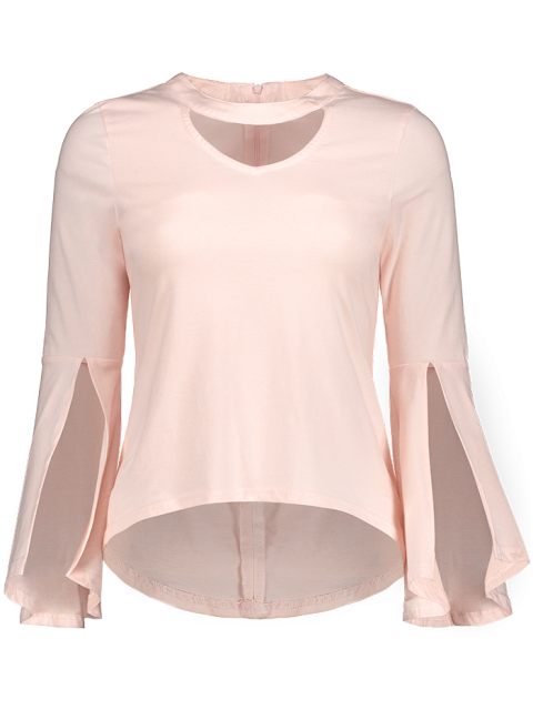 unique Flare Sleeved Choker T-Shirt - PINK L Mobile