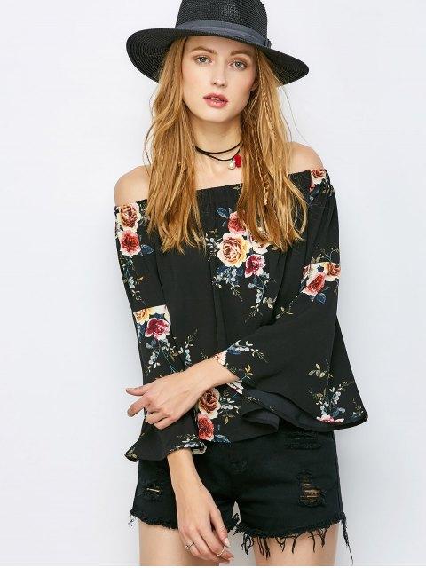 women's Floral Print Off The Shoulder Top - BLACK L Mobile