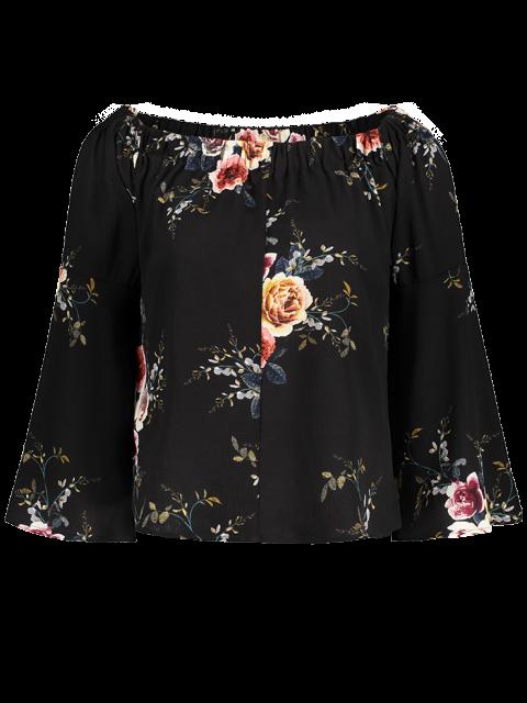 women Floral Print Off The Shoulder Top - BLACK XL Mobile
