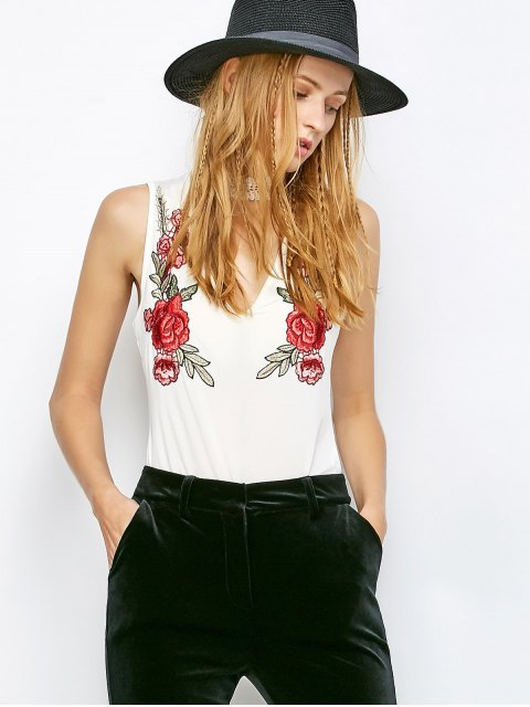 sale Choker Floral Embroidered Bodysuit - WHITE L Mobile