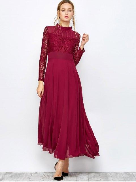 buy Lace Chiffon Ruffle Collar Evening Dress - BURGUNDY L Mobile