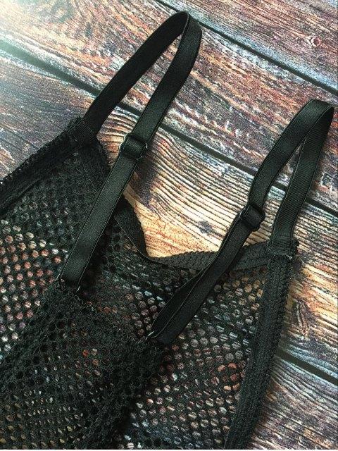 fashion Mesh Y Back Lace Bra - BLACK XL Mobile