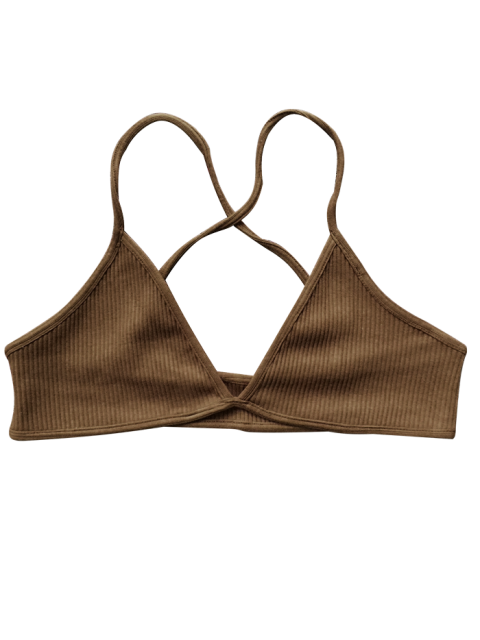 best Crossed Straps Ribbed Unlined Bra - BROWN ONE SIZE Mobile