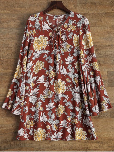 chic Flare Sleeve Floral Swing Dress - DARK AUBURN L Mobile