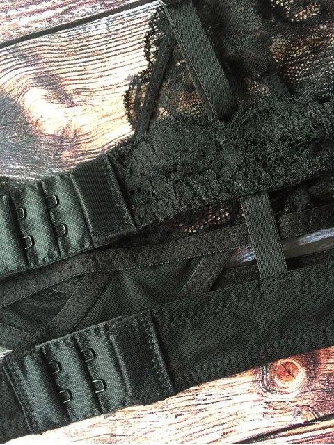 sale Crosscriss Lace Jacquard Bra - BLACK XL Mobile