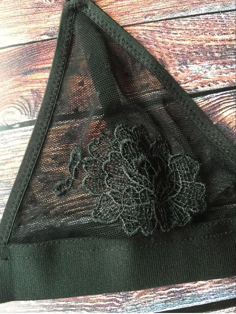 womens See-Through Floral Applique Bra - BLACK 2XL Mobile