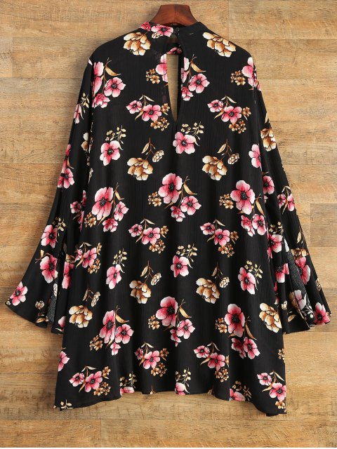 latest Keyhole Cutout Floral Print Swing Dress - BLACK M Mobile