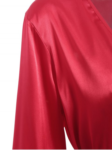fashion Faux Silk Outerwear and Slip Dress Loungewear - BRIGHT RED L Mobile
