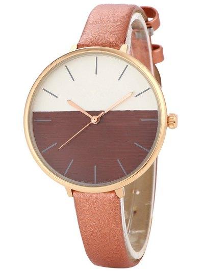 Color Block Quartz Watch - BROWN  Mobile