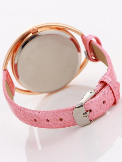Faux Leather Rhinestone Analog Quartz Watch - PINK  Mobile