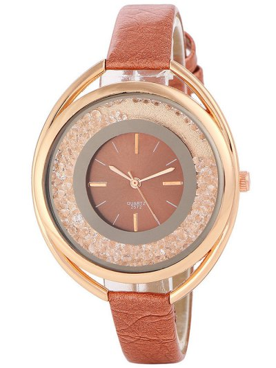 Faux Leather Rhinestone Analog Quartz Watch - BROWN  Mobile