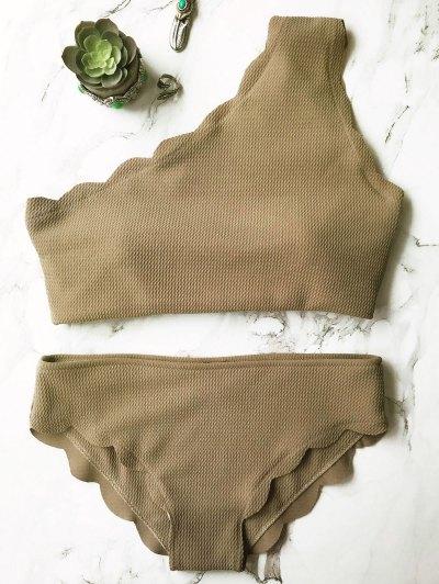 Wireless Scalloped One Shoulder Bikini - GREY OLRVE M Mobile