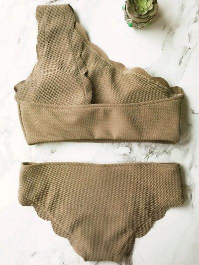 Wireless Scalloped One Shoulder Bikini - GREY OLRVE S Mobile