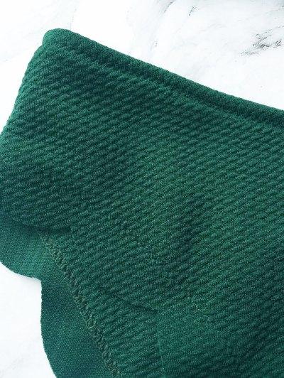 Wireless Scalloped One Shoulder Bikini - BLACKISH GREEN S Mobile
