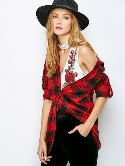 Long Checked BF Style Shirt - RED 2XL Mobile
