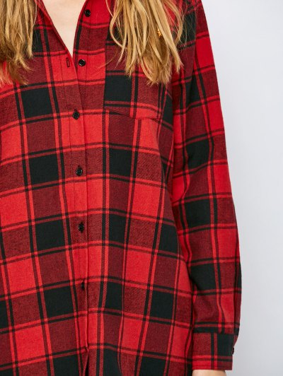 Long Checked BF Style Shirt - RED XL Mobile