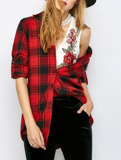 Long Checked BF Style Shirt - RED M Mobile
