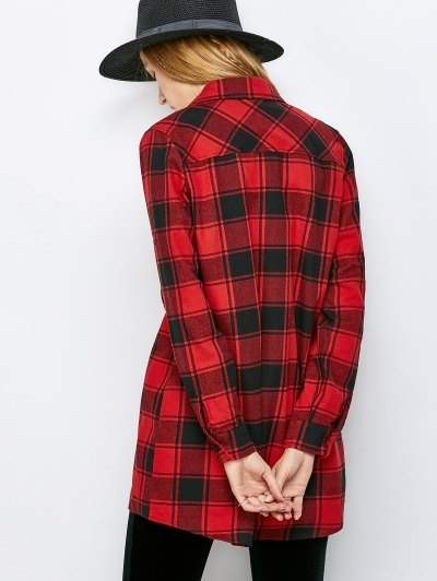 Long Checked BF Style Shirt - RED S Mobile