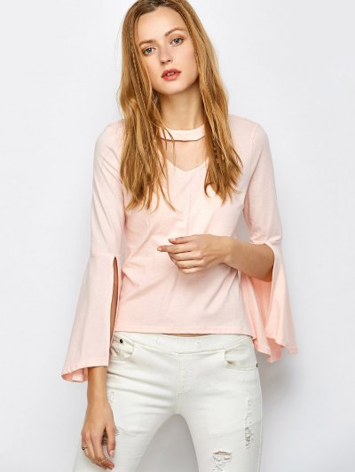 Flare Sleeved Choker T-Shirt - PINK L Mobile