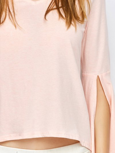 Flare Sleeved Choker T-Shirt - PINK M Mobile