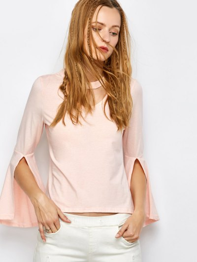Flare Sleeved Choker T-Shirt - PINK S Mobile