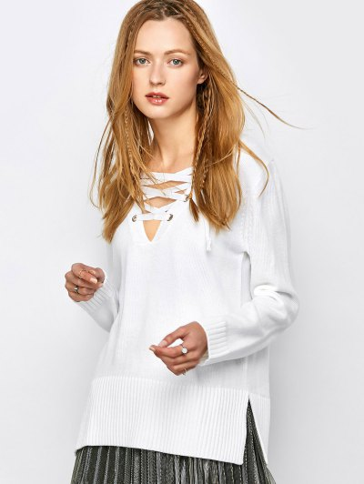 V Neck Lace-Up Sweater - WHITE L Mobile