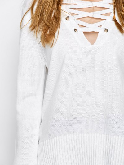 V Neck Lace-Up Sweater - WHITE S Mobile