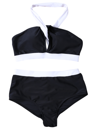High Waist Color Block Bikini Set - WHITE AND BLACK M Mobile