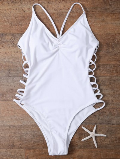 Cutout High Cut One-Piece Swimwear - WHITE L Mobile