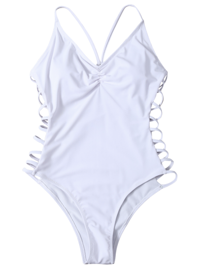 Cutout High Cut One-Piece Swimwear - WHITE S Mobile