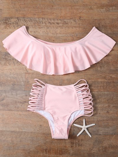 Off The Shoulder Cutout Flounced Bikini Set - PINK L Mobile