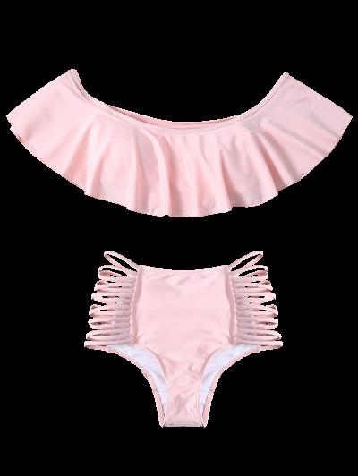 Off The Shoulder Cutout Flounced Bikini Set - PINK M Mobile