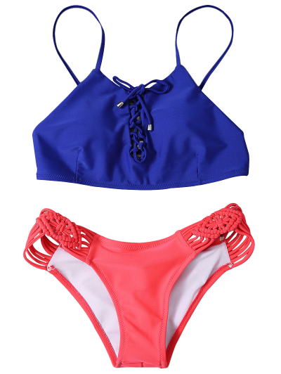 Braided Lace-Up Bikini Set - ROSE RED L Mobile
