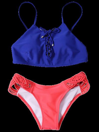 Braided Lace-Up Bikini Set - ROSE RED L Mobile