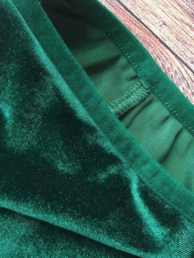 Lace Hem High Waisted Velvet Bra Set - BLACKISH GREEN L Mobile