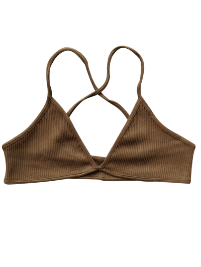 Crossed Straps Ribbed Unlined Bra - BROWN ONE SIZE Mobile