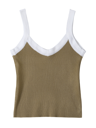 Color Block Knitted Ribbed Tank Top - FLAX GREEN ONE SIZE Mobile