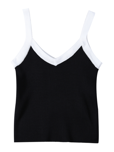 Color Block Knitted Ribbed Tank Top - BLACK ONE SIZE Mobile