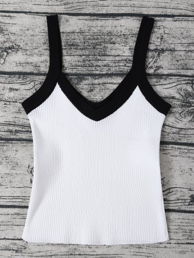 Color Block Knitted Ribbed Tank Top - WHITE ONE SIZE Mobile