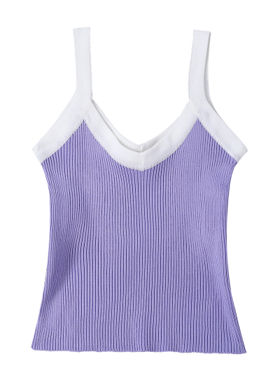 Color Block Knitted Ribbed Tank Top - PURPLE ONE SIZE Mobile