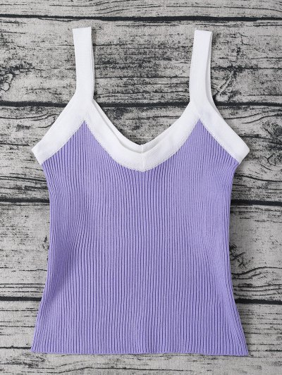 Ribbed Knitted Cropped Tank Top