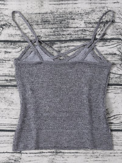 Cami Heathered Cropped Knitted Tank Top - GRAY ONE SIZE Mobile